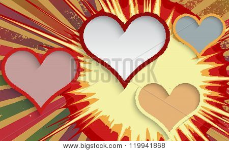 Abstract Explosion Background With Hearts.