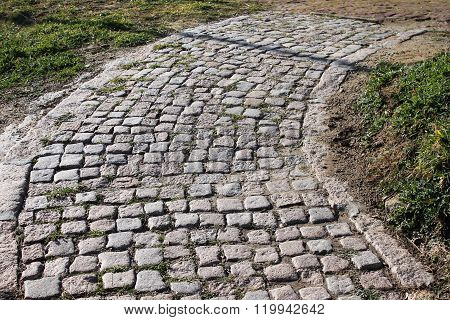 Lane Lined With Grey Stone