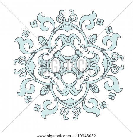 Damask vector floral rosette element. Abstract traditional ornament for backgrounds. Grey and blue mandala on white background
