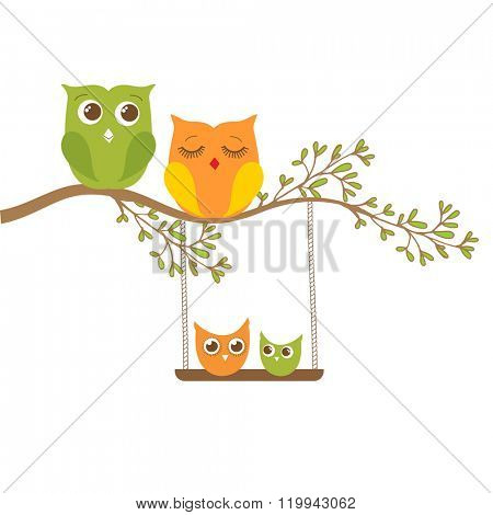 Owl family sitting on a tree branch. Father, mother, son and dauther. Vector family concept.
