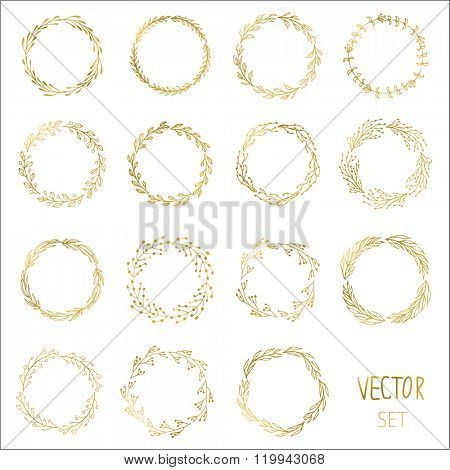 Set of 15 Handdrawn ink painted gold floral wreaths and laurels. Vintage vector golden elements for wedding, holiday and greeting cards, web, prind scrapbooking design and other