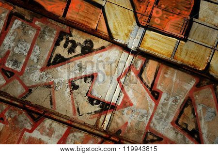 Dramatic Grunge Rusty Metal Old Gate - Creative Industrial Diaogonal Background For Your Design