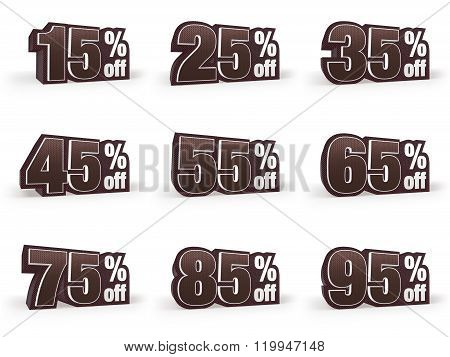 Set Of Discount Price Signs In Brown Suit Look