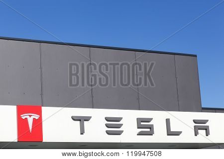 Tesla logo on a facade