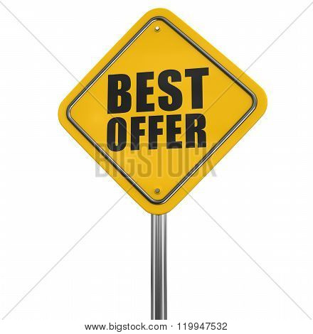 Best offer sign. Image with clipping path