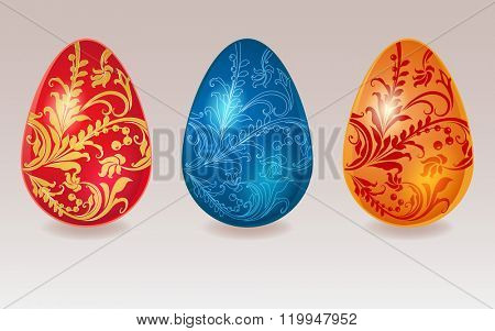 Easter eggs with floral ornament in 3 colors.