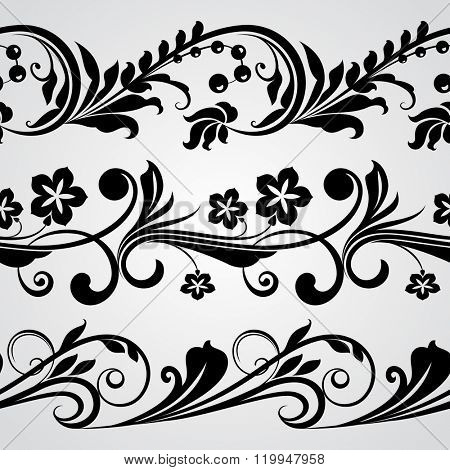 Seamless abstract black and white horizontal floral border vector ornaments.