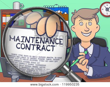 Maintenance Contract through Magnifying Glass. Doodle Concept.