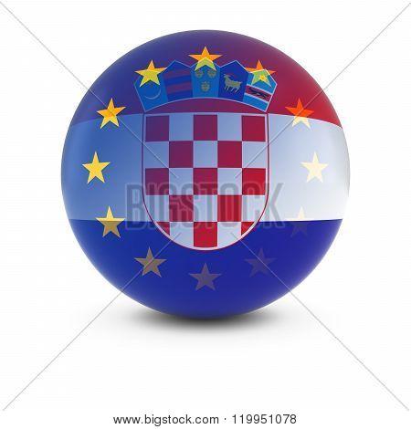 Croatian And European Flag Ball - Fading Flags Of Croatia And The Eu