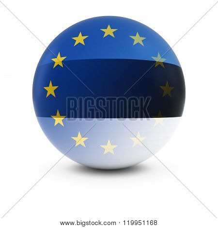 Estonian And European Flag Ball - Fading Flags Of Estonia And The Eu