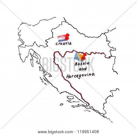 Map of Croatia and Bosnia and Herzegovina - territorial dispute concept