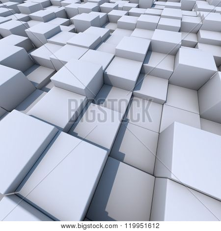 Abstract white cubes 3D background.