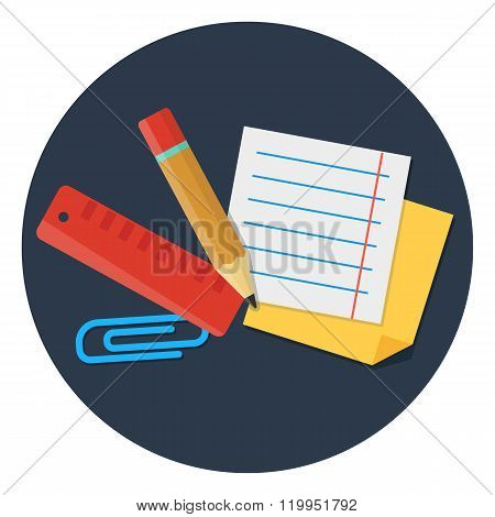 stationery set flat vector elements