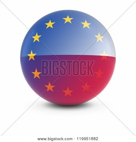 Polish And European Flag Ball - Fading Flags Of Poland And The Eu