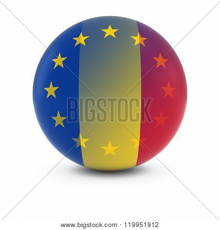 Romanian And European Flag Ball - Fading Flags Of Romania And The Eu