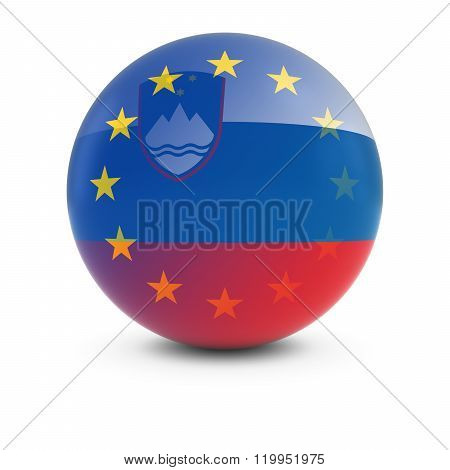 Slovenian And European Flag Ball - Fading Flags Of Slovenia And The Eu