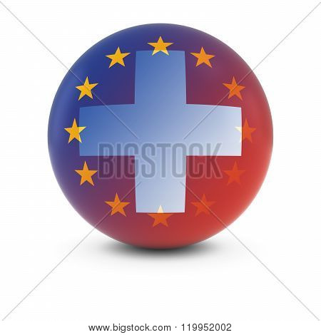Swiss And European Flag Ball - Fading Flags Of Switzerland And The Eu