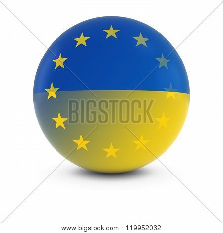 Ukrainian And European Flag Ball - Fading Flags Of Ukraine And The Eu