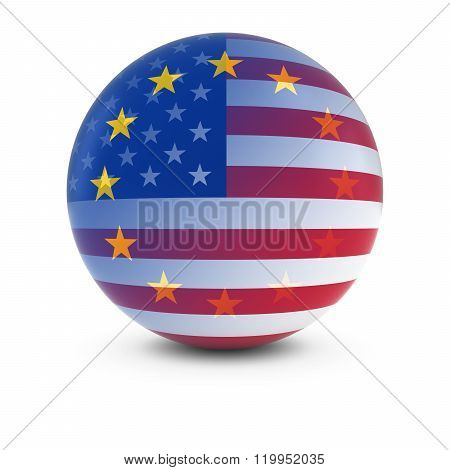 American And European Flag Ball - Fading Flags Of The Usa And The Eu