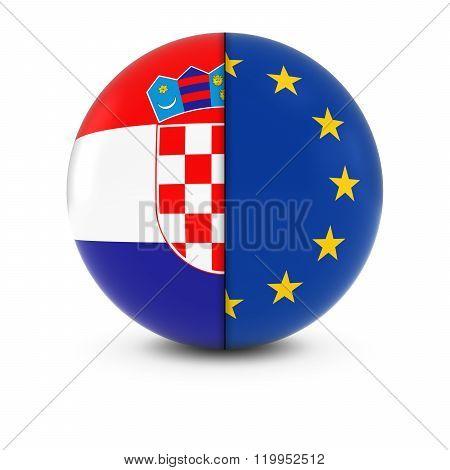 Croatian And European Flag Ball - Split Flags Of Croatia And The Eu