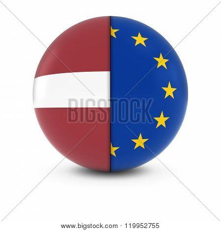 Latvian And European Flag Ball - Split Flags Of Latvia And The Eu