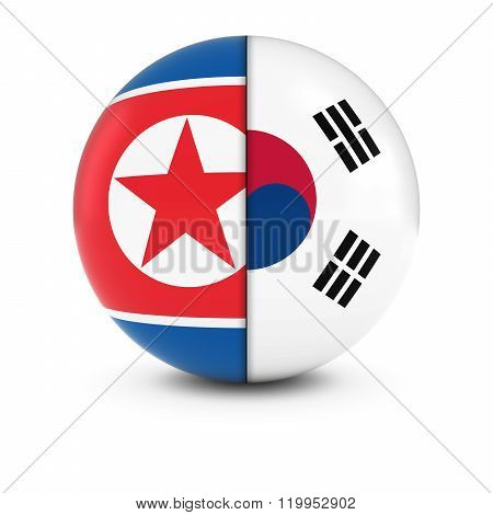 North And South Korean Flag Ball - Split Flags Of North Korea And South Korea