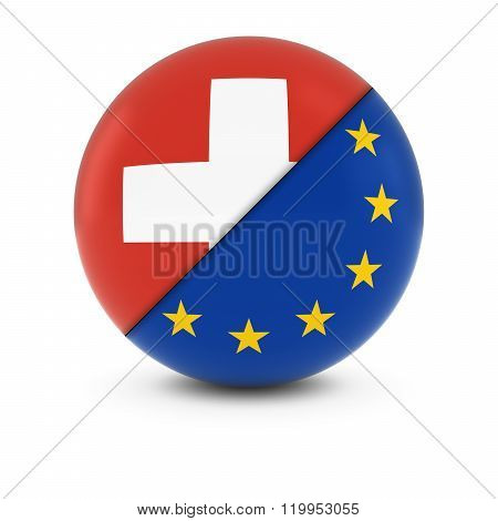 Swiss and European Flag Ball - Split Flags of Switzerland and the EU - 3D Illustration