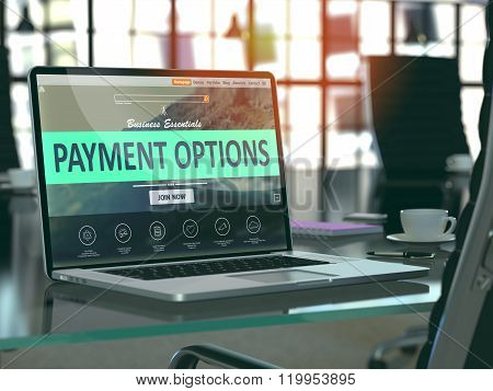 Laptop Screen with Payment Options Concept.