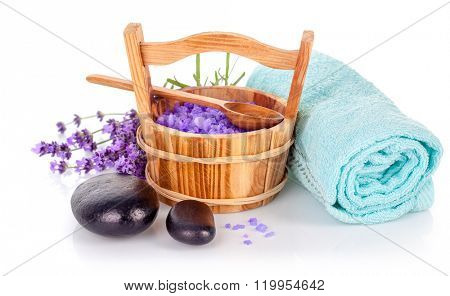 Spa still life with lavender salt and towel isolated on white background