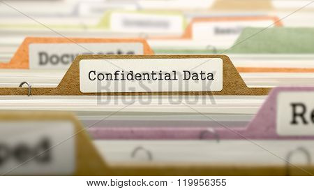Confidential Data Concept. Folders in Catalog.