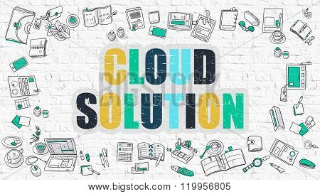 Cloud Solution Concept. Multicolor on White Brickwall.