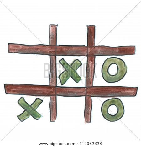 Green Tic Tac Toe cartoon watercolor isolated