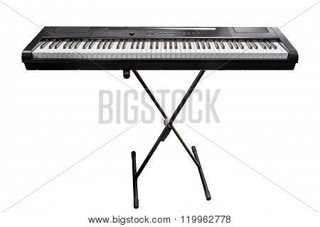 electronic synthesizer isolated on white background