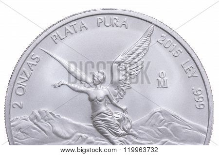 Closeup Mexican Silver Coin