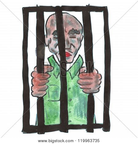 enclosed in a green robe cartoon watercolor isolated