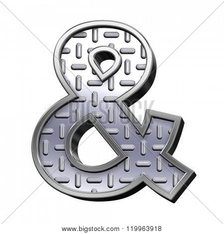 One letter from steel tread plate alphabet set, isolated on white. Computer generated 3D photo rendering.