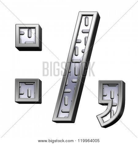 Colon, semicolon, period, comma from steel tread plate alphabet set, isolated on white. Computer generated 3D photo rendering.