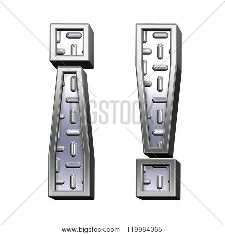 Exclamation mark from steel tread plate alphabet set, isolated on white. Computer generated 3D photo rendering.