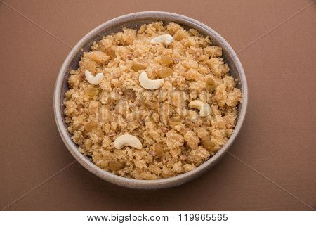 indian gujrati or maharahashtrian or south indian sweet dish lapsi broken wheat sweet pudding payasa