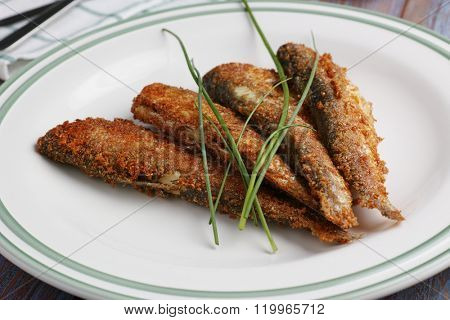 Roasted vendace fish