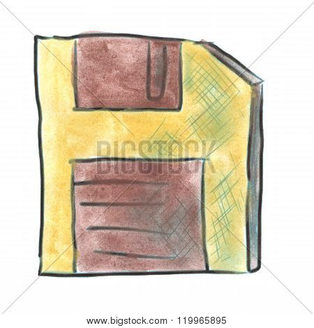 yellow Floppy Disk brown watercolor cartoon isolated