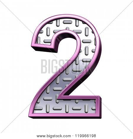 One digit from steel tread plate with purple frame alphabet set, isolated on white. Computer generated 3D photo rendering.
