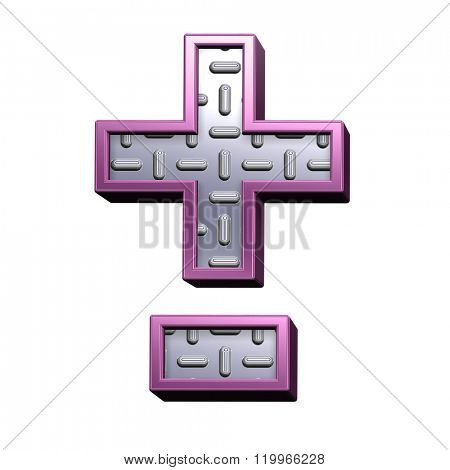 Hyphen, minus, plus marks from steel tread plate with purple frame alphabet set, isolated on white. Computer generated 3D photo rendering.