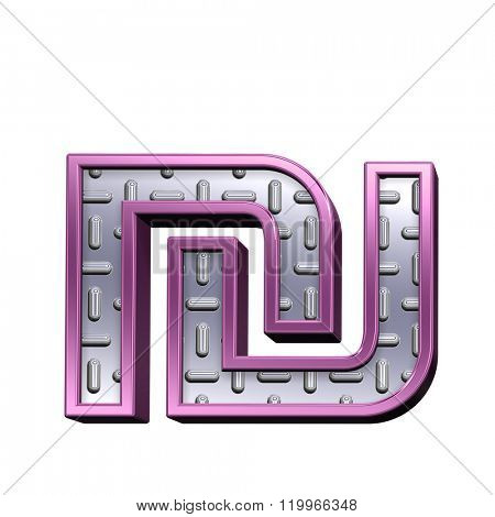 Sheqel sign from steel tread plate with purple frame alphabet set, isolated on white. Computer generated 3D photo rendering.