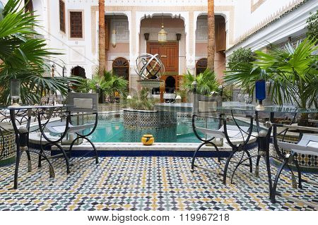 MARRAKECH, MOROCCO - OCTOBER 27, 2015: Traditional riad interior in Fes El Bali medina, Morocco, Africa