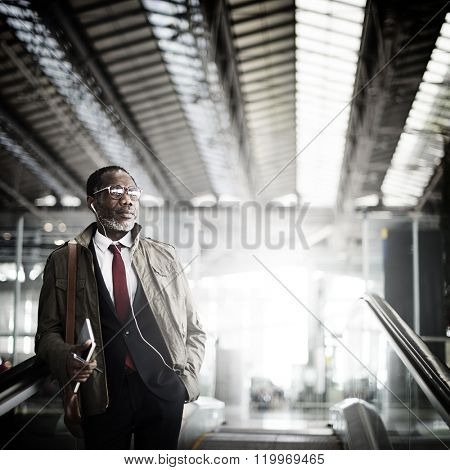 Journalist Businessman Travel Commuter Concept