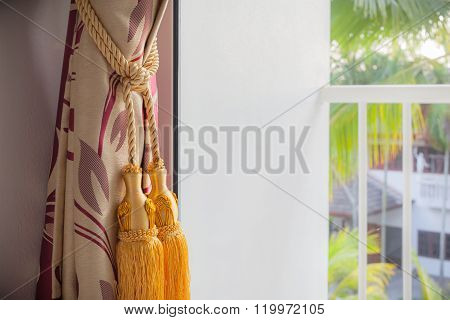 Luxury Curtain And Tassel With Outside View Terrace