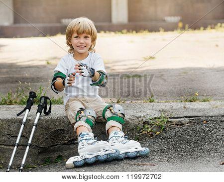 Boy roller skates