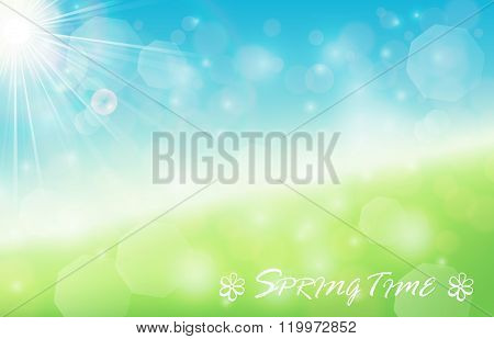 Nature spring bokeh background with sunbeam