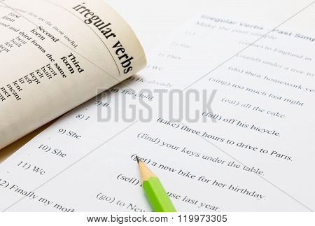 English Exercise And Text Book On Table